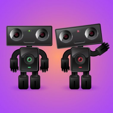 Two robots. A man and a woman. stock vector