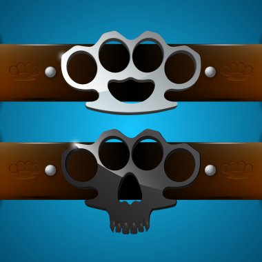 Brass knuckles (weapon, knuckle) stock vector