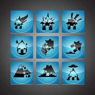 Disasters Icon Set vector  illustration stock vector
