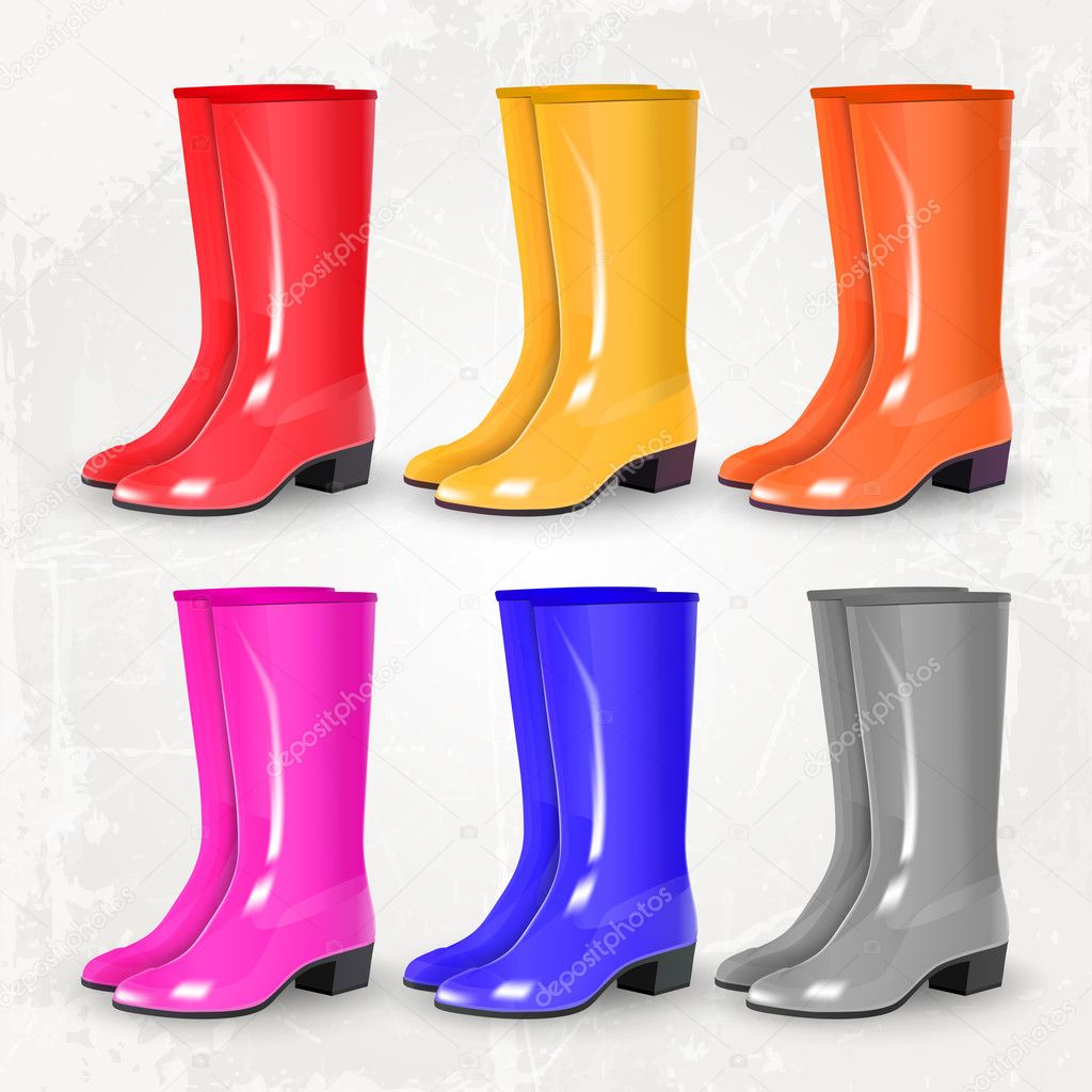 1b14e4db9a5 Botas Borracha Colorida Set Vector — Vetores de Stock ...