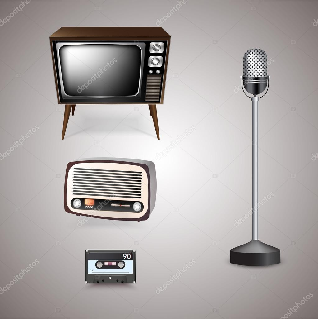 Retro-styled objects  vector illustration stock vector