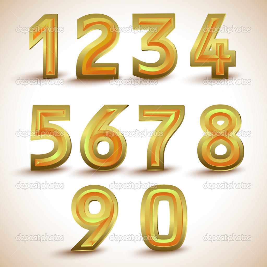 Vector set of gold numbers. stock vector
