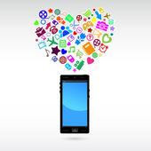 Szerelem a mobil telefon alkalmazás. Vektoros illusztráció