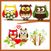 Set of five owls with various emotions.