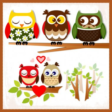 Set of five owls with various emotions. stock vector