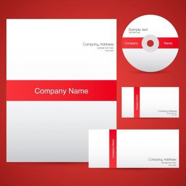 Red corporate identity template. stock vector