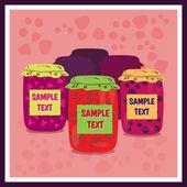 Jars of jam vector illustration