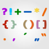 Set of colored punctuation marks and signs, vector