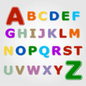 Colourful sticker font - letter from A to Z