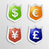 Měna známky - dolaru, euru, jenu a libra. Vektoru symbol peněz.