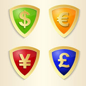 Currency signs - dollar, euro, yen and pound. Vector money symbol.