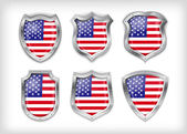 Different icons with flag of USA