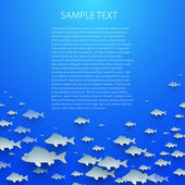 Blue abstract vector background with fish