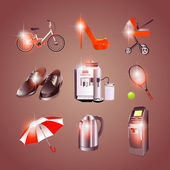 different objects icons, vector illustration