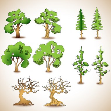 Vector set of green trees. stock vector