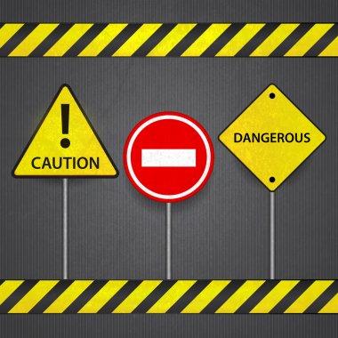 Vector road signs: stop caution dangerous stock vector