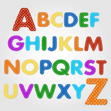 Alphabet Quilt and old fashioned baby blanket design stock vector