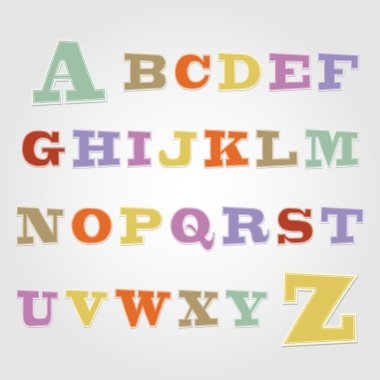Joyful sticker font - letter from A to Z stock vector