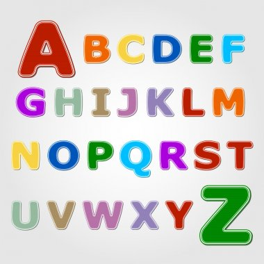 Colourful sticker font - letter from A to Z stock vector