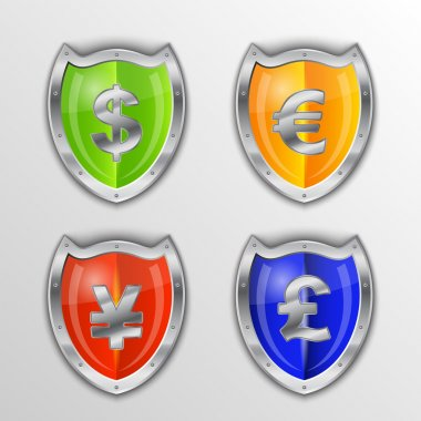Currency signs - dollar, euro, yen and pound. Vector money symbol. stock vector
