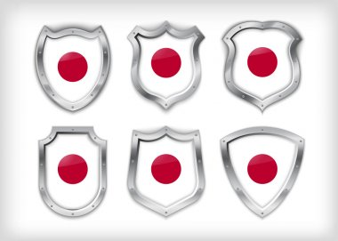 Different icons with flag of Japan stock vector