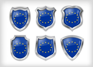 Different icons with European Union flag stock vector