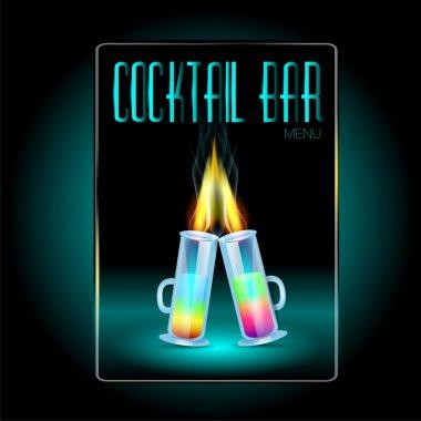 Coctails menu card design template stock vector