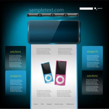Vector Website Design Template of mp3 player stock vector