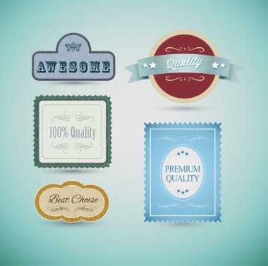 Vintage labels and ribbon retro style set. Vector design elements stock vector