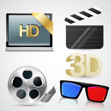 Movie icon set, vector illustration stock vector
