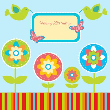Birthday card with birds stock vector