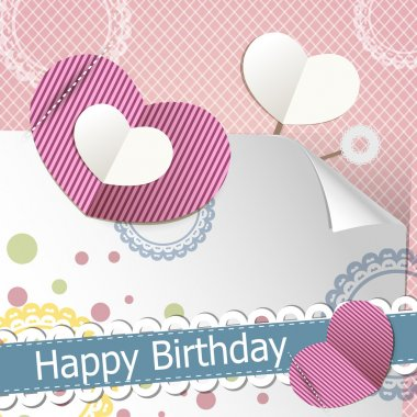 Retro birthday scrapbook set stock vector