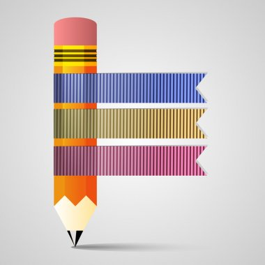 Template with pencil ribbon banner stock vector
