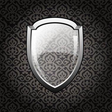 Button shield, vector illustration stock vector