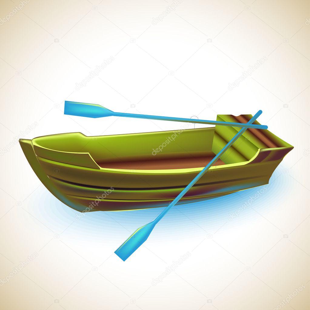 Illustrazione di una barca di legno .