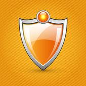 Narancsszínű fényes pajzsot, vektoros illusztráció