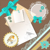 Vintage background with birds and bows