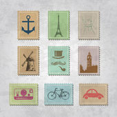 Set of various stamps