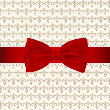 Vintage background with red bow stock vector