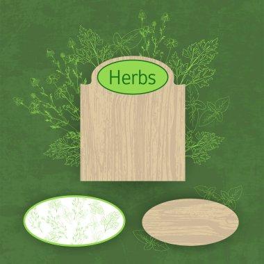 Green herbal background, vector illustration stock vector