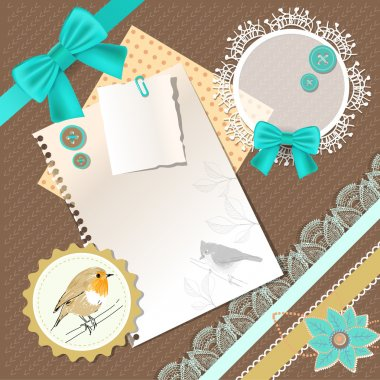 Vintage background with birds and bows stock vector