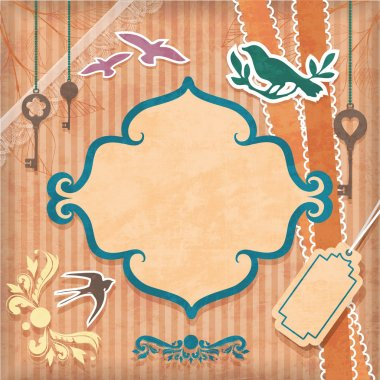 Vintage background with birds stock vector
