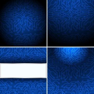 Blue microchip background, vector illustration stock vector
