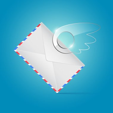 Envelope with glassy wing stock vector