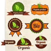 Eco és a Bio címkék gyűjtemény design a retro háttér