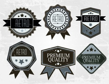 Vintage Styled Premium Quality. Label collection with black grungy design, paper texture. stock vector