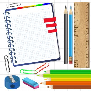 Close up of various school items.Vector illustration. stock vector