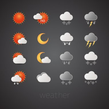Weather icons on black background. Vector illustrations stock vector