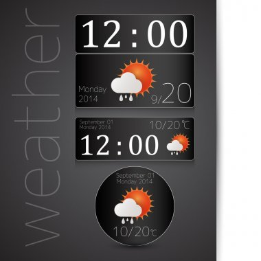 Wheather report icon on monday 2014 september 1 on grey background stock vector