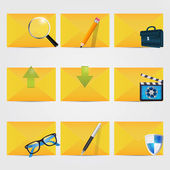 Correspondence icons with yellow envelopes